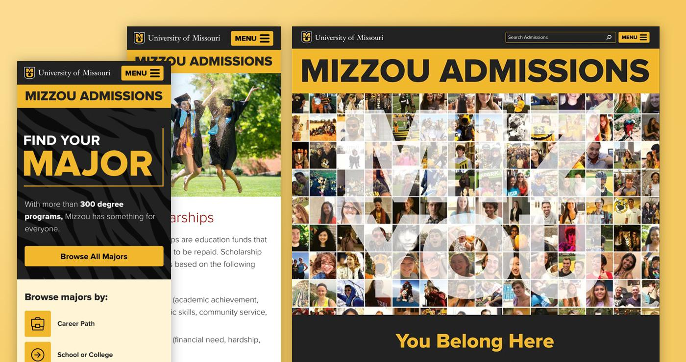 Mizzou Admissions screenshot