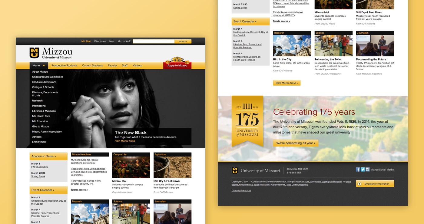 Mizzou Homepage screenshot